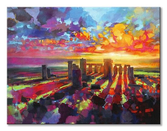 Kolorowe Stonehenge - obraz